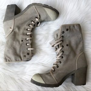 Lee Roy Heeled Combat Military Boot in Taupe